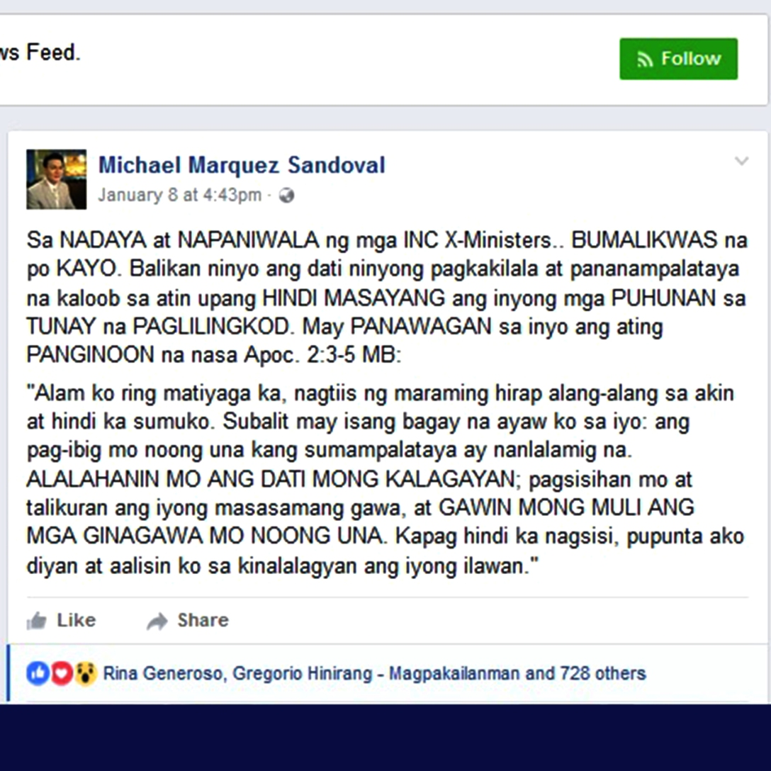 Pagbabago ng Kapatid na Michael M Sandoval 1112017.jpg